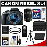 Canon EOS Rebel SL1 Digital SLR Camera and EF-S 18-55mm IS STM Lens with EF-S 55-250mm IS Lens + 32GB Card + Battery + Case + Filter + Tripod Kit, Best Gadgets
