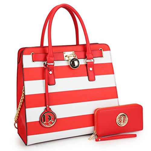 (DASEIN Fashion Top Belted Tote Satchel Designer Padlock Handbag Shoulder Bag for Women (2553w-red stripe))