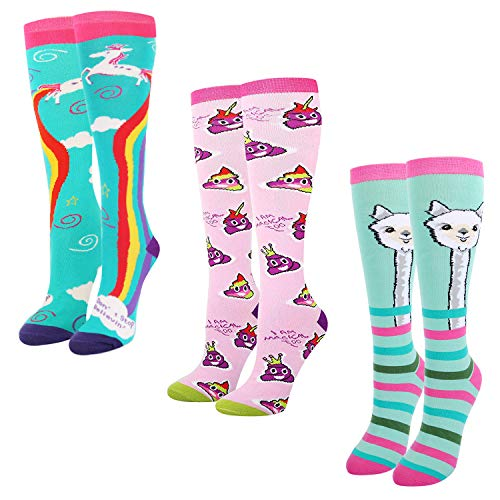 Women's Girls Novelty Over Calf Funny Crazy Unicorn Llama Poop Knee High Socks