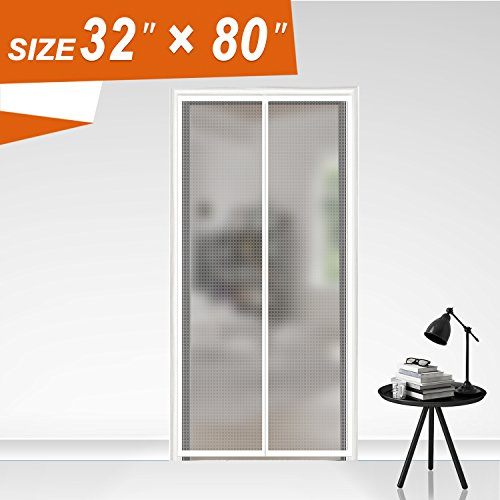 Insulated Door Curtain, Thermal and Insulation EVA Magnetic Screen Temporary Plastic Door Curtain Enjoy Cool Summer & Warm Winter Fit Your Door Size Up to 30x79 Inch (32x80 Inch, Transparent) (Door Thermal Curtain)