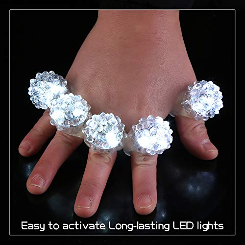 Fun Central (AD627) 96ct LED Flashing Jelly Bumpy Rings, LED Jelly Finger Rings, Glow in the Dark Party Favors for Kids and Adults, Party Favors for New Years Eve - White by Fun Central (Image #2)
