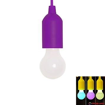 PAWACA luz LED - Cuerda de tracción luz bombillas LED portátil bombilla decorativa LED bombillas, luz para colgar para hogar y fiesta: Amazon.es: Hogar