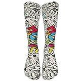 Unisex Knee High Long Socks Music Fashion Graffiti Cosplay High Long Stockings