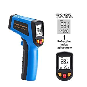 DEKO Blue 600℃ Non-Contact Laser LCD Display IR Infrared Digital C/F Selection Surface Temperature Thermometer Pyrometer Imager