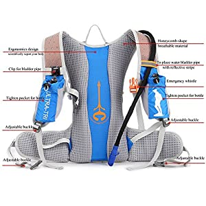 ULTRA-TRI Hydration Trail Running Backpack 15L Professional Lightweight Outdoor Sports Bag Pack Blue with 2L Water Bladder