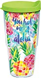 Tervis 1216532 You Had Me at Aloha Tumbler with Wrap and Lime Green Lid 24oz, Clear