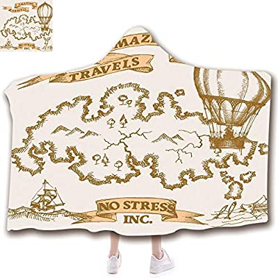 scocici Fashion Blanket Ancient China Decorations Blanket Wearable Hooded Blanket,Unisex Swaddle Blankets for Babies Newborn by,Map with Sailing Boat and Hot Air Baloon,Adult Style Children Style