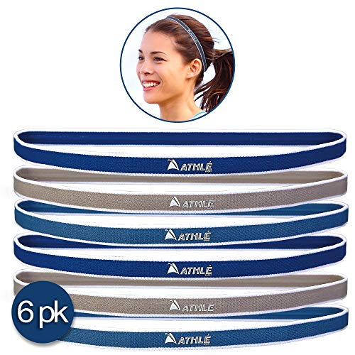 Athlé Skinny Sports Headbands 6 Pack - Men's and Women's Elastic Hair Bands with Non Slip Silicone Grip - Lightweight and Comfortable Sweatbands Keep You Cool and Dry – Dark and Light Blue, Gre