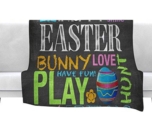 Kess InHouse Snap Studio Happy Easter Text Pastels Typography Fleece Throw Blanket 80 by 60