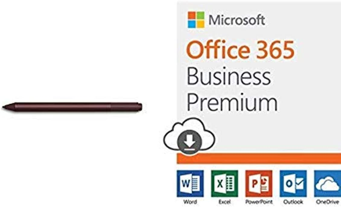 Microsoft Surface Pen - Burgundy with Microsoft Office 365 Business Premium | 12-month subscription 1 person PC/Mac Download