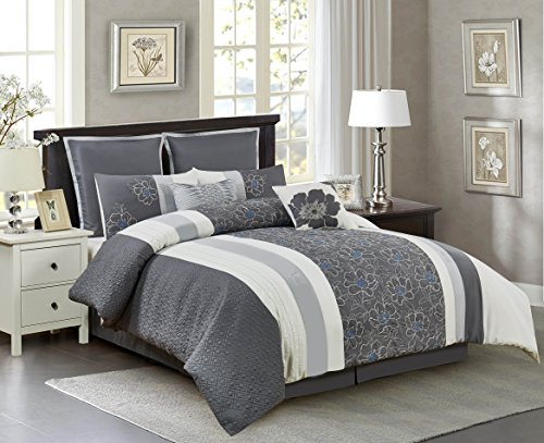 Floral Embroidered Comforter Set, Embellished Elegant Bedding Set, Oversized & Overfilled Comforter with Dec Pillows, Shams, Bedskirt, Color Piecing Pattern, King, 106