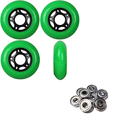 Player's Choice Outdoor Inline Skate Wheels 76MM 89a Green x4 W/ABEC 5 Bearings : Sports & Outdoors