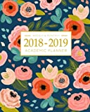 #1: 2018-2019 Academic Planner Weekly And Monthly: Calendar Schedule Organizer and Journal Notebook With Inspirational Quotes And Navy Floral Lettering Cover (August 2018 through July 2019)