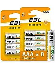 EBL AAA batterij 1100 mAh met hoge capaciteit, AAA oplaadbare batterijen, 1,2 V Micro AAA, 8 stuks