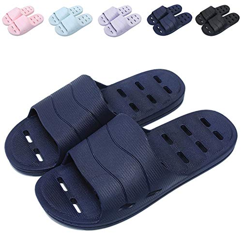 Shower Sandal Slippers with Drainage Holes Quick Drying Bathroom Slippers Gym Slippers Soft Sole Open Toe House Slippers for Men and Women,14dark Blue,42.43 (Best Shower Shoes For College)