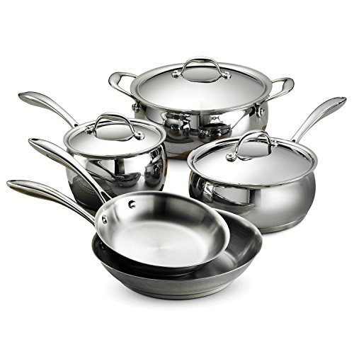 Tramontina 80102/200DS Gourmet Domus Stainless Steel, Induction-Ready, Impact-Bonded, Tri-Ply Base Cookware Set, 8 Piece, Made in Brazil