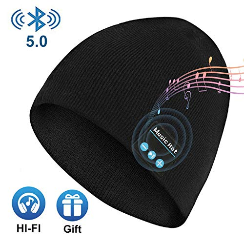 Upgraded Wireless Beanie Hat Wireless Headset Headphones Winter Music Speaker Hat Knit Running Cap with Stereo Speakers Mic Unique Christmas Tech Gifts for Men Women Teens Boys Girls Stocking Stuff