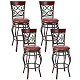 Cheap COSTWAY Vintage Bar Stools Swivel Comfortable Leather Padded Seat Bistro Dining Kitchen Pub Metal 29.5″ Seat Height Barstools Chairs (Set of 4)