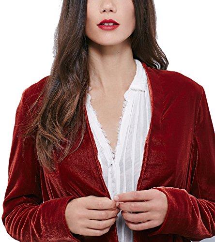 moda abierta chaqueta Rojo Cárdigan Vino drapeado mujeres de para qSwIIE6