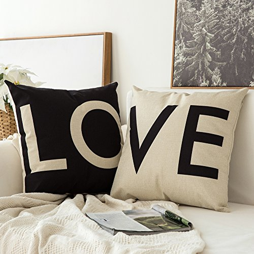 MIULEE Pack of 2, Valentine's Day White&Black Love Series Cotton Linen Decorative Throw Pillow Case Cushion Cover Pillowcase for Sofa Bed Car 18 x 18 Inch 45 x 45 cm ()