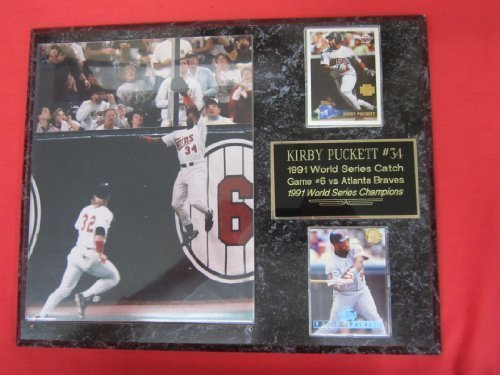 Twins Kirby Puckett 2 Card Collector Plaque w/ 8x10 WORLD SERIES CATCH Photo (Kirby Puckett Minnesota Twins Baseball)