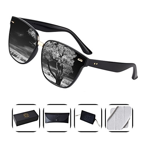 Heptagram TR90 Unisex Wayfarer Sunglasses with 7 Color , Polarized 100%UV Protection sunglasses (Black/.Black)