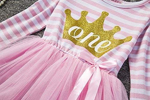 KYMIDY Vestito da Principessa con Corona a Righe con Paillettes