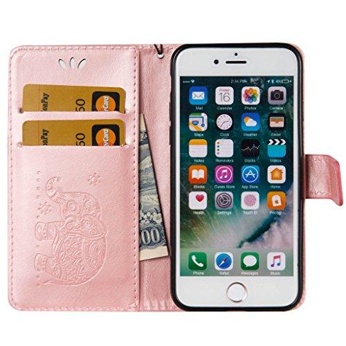 Crisant Case Cover For Apple iPhone 7 4.7'' (4,7''),Beau soulagement d'éléphant conception portefeuille magnétique supporter PU cuir de flip protection housse coque étui pour Apple iPhone 7 4.7'' (4,7