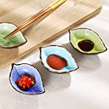 JING Appetizer Plates Ceramic Leaf or Fish Shape Porcelain Hand-crafted Beautiful Crackle Glaze Sauce Dishes, all kinds of condiment dishes,Set of 4 (Leaf Shape)