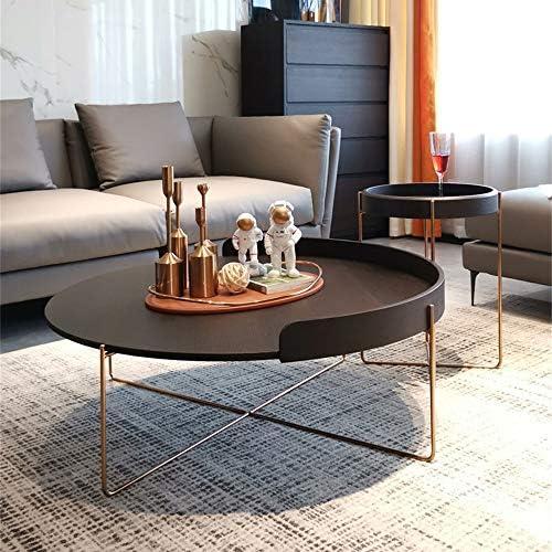 In De Mode ZRRtables Ronde salontafel van MDF, creatieve koffie, accent, tafel, retro, gemakkelijk te reinigen bank, bijzettafel met roestvrij stalen poot  Kbzqgkl