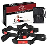JDDZ Yoga Strap for Stretching, Elastic Stretching Strap with Loops to Increase Flexibility Dynamic Stretch Bands for Athletes Including Dancers, Cheerleaders, Gymnasts, Runners, Pilates (Black)