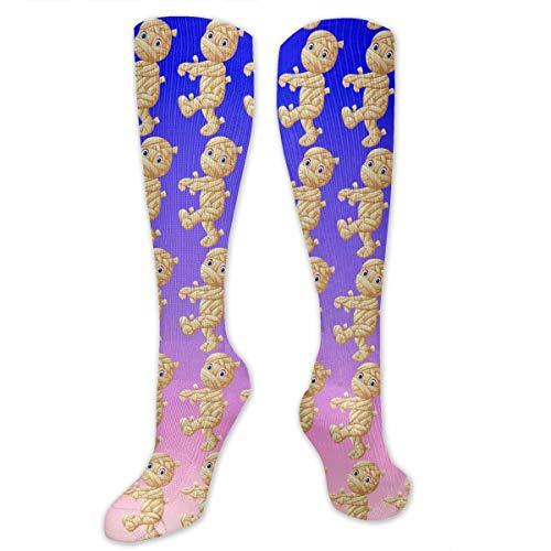 SARA NELL Knee High Socks Cartoon Mummy Walking Knee High Stockings Athletic Socks Personalized Gift Socks for Men Women Teens Girls -