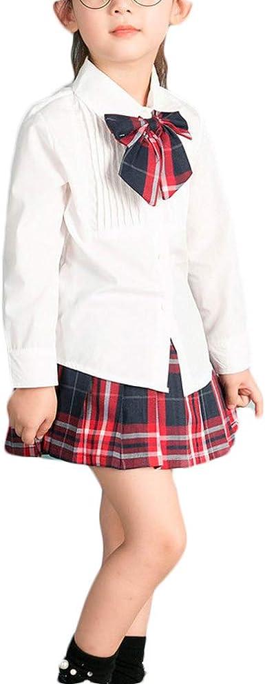 Chicas Solid Color De Manga Larga Camisa con Falda A ...