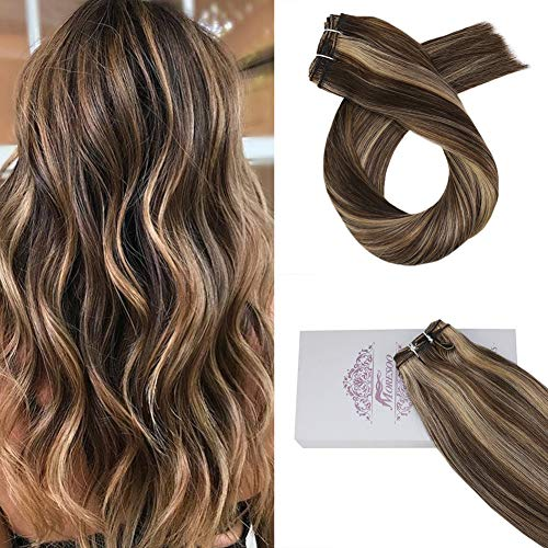 Moresoo 24Inch Remy Brazilian Hair Bundles Human Hair Extensions Piano Color #4 Brown Highlight with #27 Caramel Blonde Sew in Human Hair Weave 100g/set Full Head Hair (Caramel Highlights On Dark Brown Hair Photos)