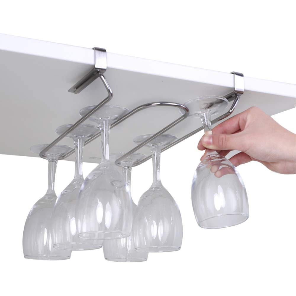 Dyna-Living Under Cabinet Wine Glass Hanger Rack, Stemware Drying Holder for Bar, Kitchen, Stainless Steel, Needn't Drilling Screw