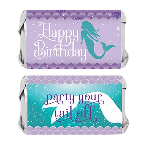 Wrap Tail Miniature - Mermaid Birthday Mini Candy Bar Wrappers   54 Stickers