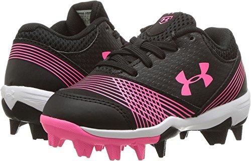 Under Armour Girls' Glyde Jr. RM Softball Shoe, Black (064)/Cerise, - Wide Softball Cleats