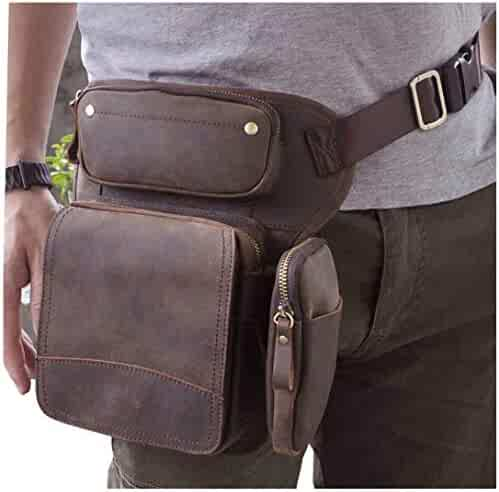 3aedadff2 Le aokuu Mens Genuine Leather Motorcycle Hiking Waist Hip Bum Pack Drop Leg Bag  Pouch