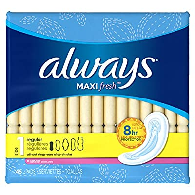 Always Maxi Fresh Size 1 Pads Without Wings, Regular Absorbency, Scented, 45 Count, Packaging May Vary from P&G