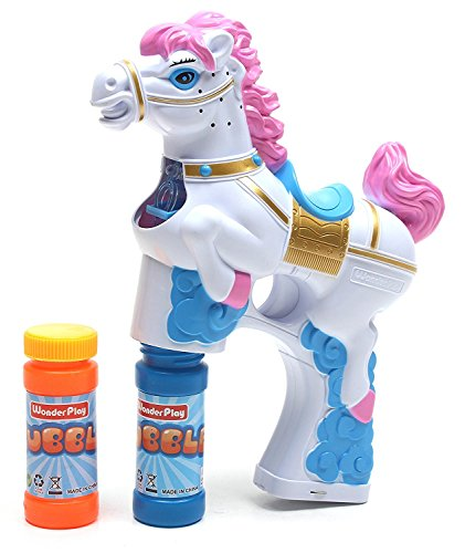 LilPals BUBBLE GUN SHOOTER – PAT THE PONY, WHITE WITH LIGHT, SOUND and BUBBLE SOLUTION INCLUDED (FOR KIDS 3 YEARS OLD AND UP) (WHITE)