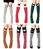 6 Pack Girls Socks, Cotton Over Calf Knee High Socks (Cartoon Animal Panda Cat Bear Fox)