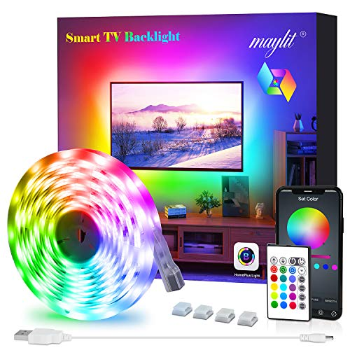 LED Strip Lights, Maylit TV LED Backlight 6.56ft for 40-60in TV Bluetooth Control Sync to Music, USB Bias Lighting TV LED Lights Kit with Remote - RGB 5050 LEDs Color Changing Lights for Room Bedroom