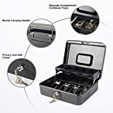 Key Lock Large Cash Box with Money Tray and