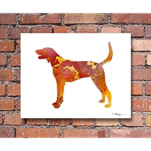 American Foxhound Abstract Art Print by Watercolor Artist DJ Rogers 1