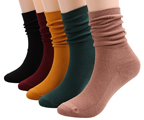 Womens 5 Pairs Fashion Cotton Knit Striped Dress Boot Crew Sock Pure Color,Size 5-9 W123 (solid color)