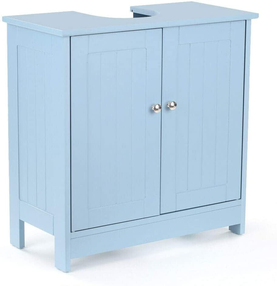 Boon Earthie Blue Sink Bathroom Vanity Organizer Storage MDF Furniture Cabinet Space Saver Shelf Home Personal Basin Storage Toilet Under Unit