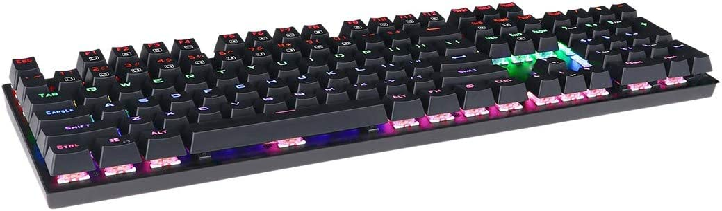 Black DADUIZHANG Profession Game Mechanical Water-Proof Rainbow Led Backlit USB Wired Gaming Keyboard with Blue Switches,104 Keys Black