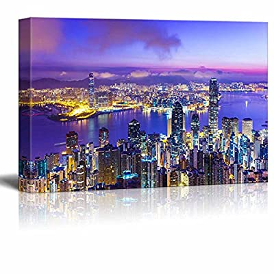 Canvas Prints Wall Art - Hong Kong Skyline at Dawn - 32