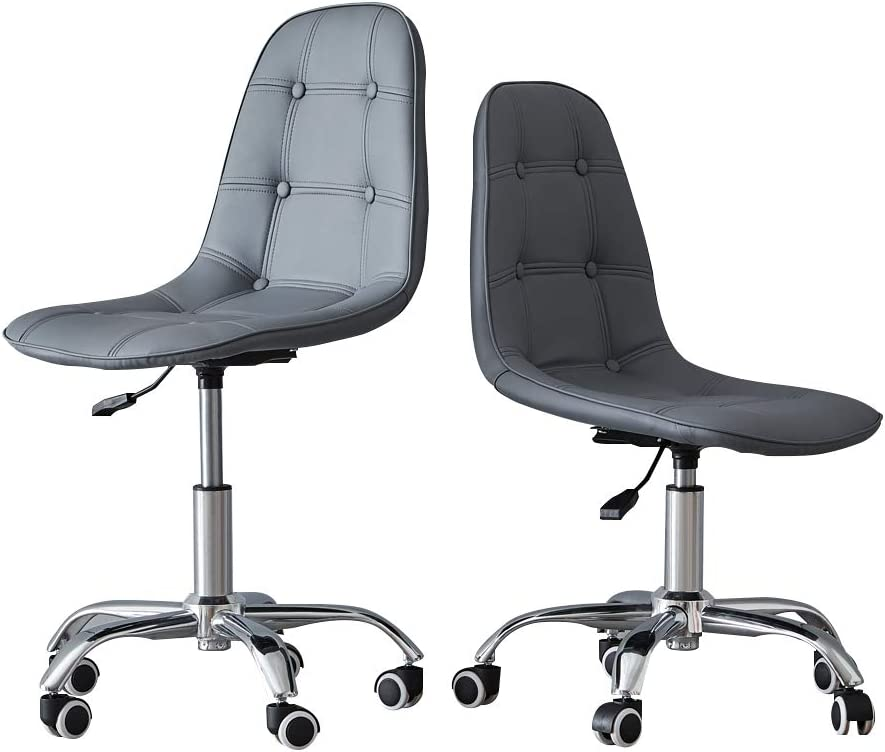 Grey, Faux Leather CLIPOP Quilted Office Swivel Chair Faux Leather Adjustable Computer Desk Chair with Castor Wheels for Home Office Study Room Furniture