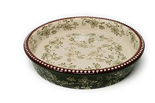 Temp-tations Layer Cake Dish or Pie Pan NOW WITH COVER - Floral Lace Green